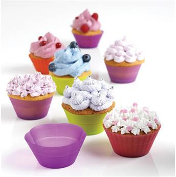 Moules Cupcakes Muffins Tartelettes en silicone Pliable x 12 MASTRAD