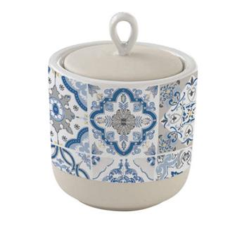 CASA DECOR Pot de rangement Conservation en Porcelaine D 8 cm Bleu