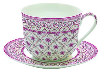 MONSOON Paire Tasse à Déjeuner Porcelaine Fine Rose
