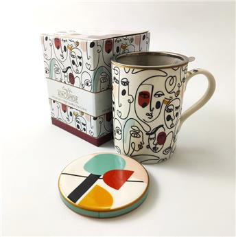 ATMOSPHERE Coffret mugs Tisanière porcelaine Modernism