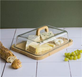 Cloche Fromage Gâteau rectangulaire verre Plateau bambou  Pebbly